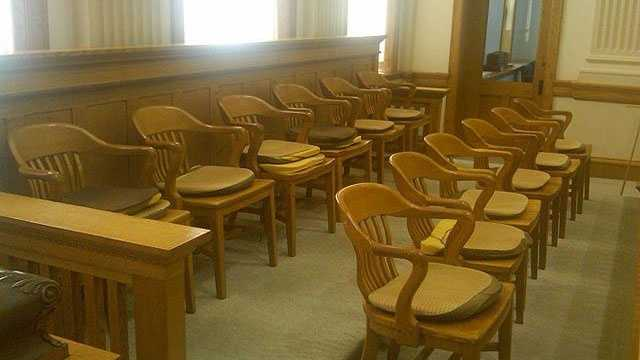 Crime jury trial courtroom