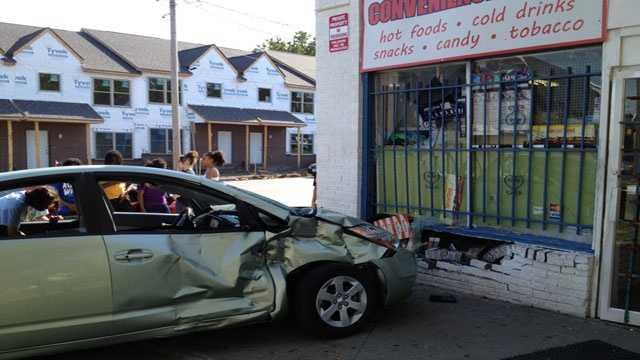 Car building crash