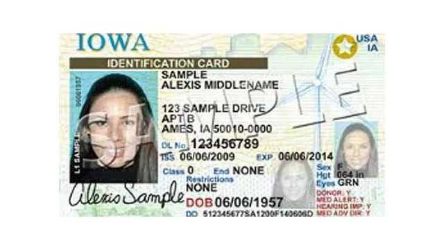 sample iowa drivers license real ID