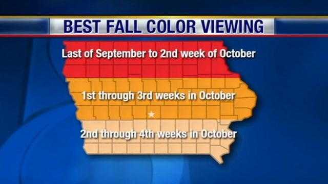 Fall colors map Iowa