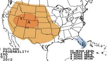 Three month temperature probability. A = above normal, B = below
