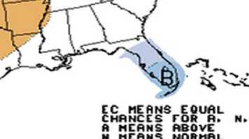 Below normal temps across Florida, rest of county above normal or normal.