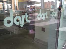 Dart logos throughout the new downtown transit center.