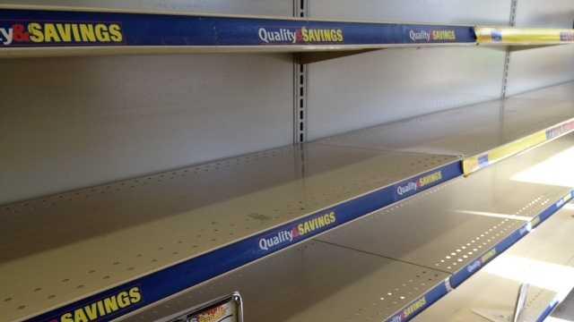 Empty hostess shelves