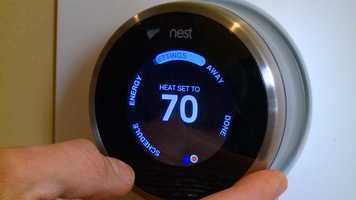 The Nest is a programmable thermostat you don't have to program. Over time, it just learns when you like your home warmer or cooler. The super-simple thermostat saves energy.  You can even control the temperature  You can get one at Best Buy or Amazon.com for $299.