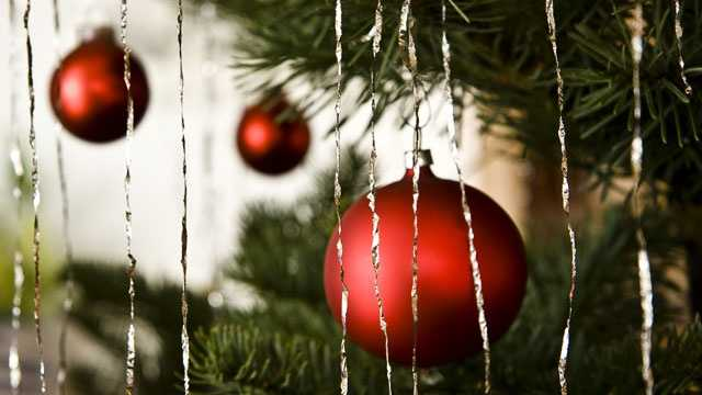 Christmas Tree closeup with ornaments and tinsel