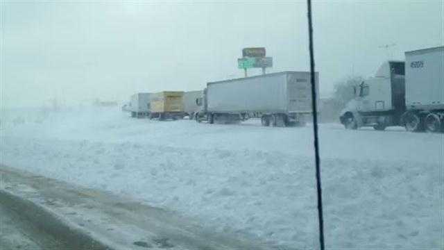Truckers stranded in Iowa by storm