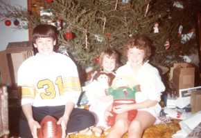 Christopher (12), Betsy, and Sarah - Christmas 1984