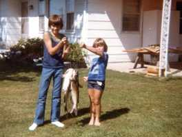 Christopher (9 1/2) and Sarah (6 1/2) after fishing - September 1981