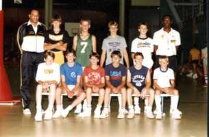 Christopher (13) in back row, standing next to former Iowa coach George Raveling - summer 1985
