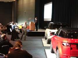 Andy Goss , President of Jaguar and Land Rover, speaking at Chicago Auto show breakfast.