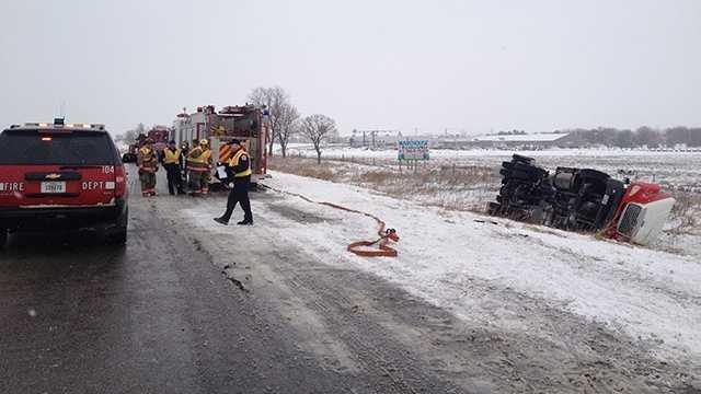 Rollover crash truck ankeny