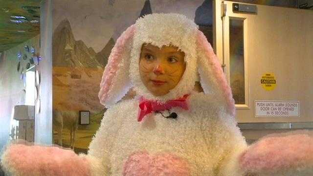 Natalie's fifth year as Easter Bunny at hospital