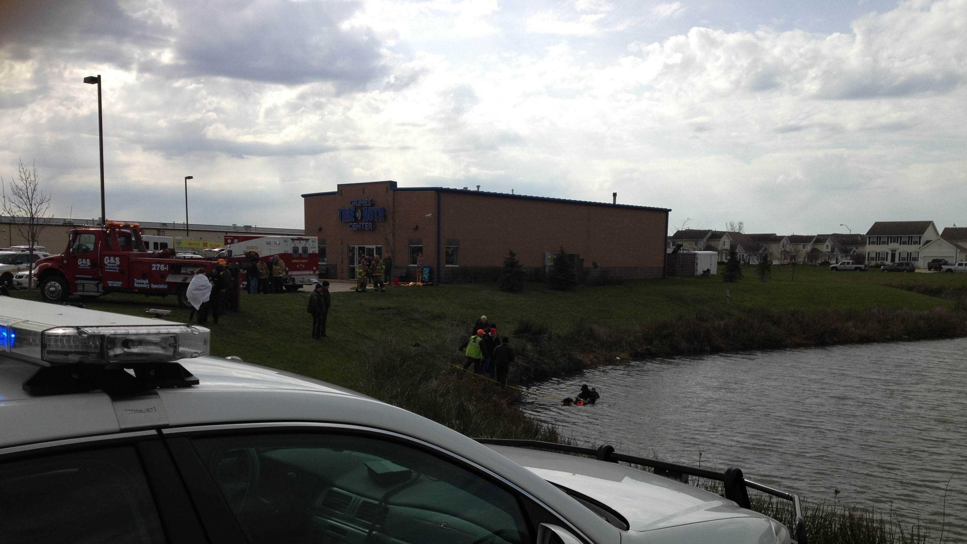 sheriff's car and divers at grimes pond