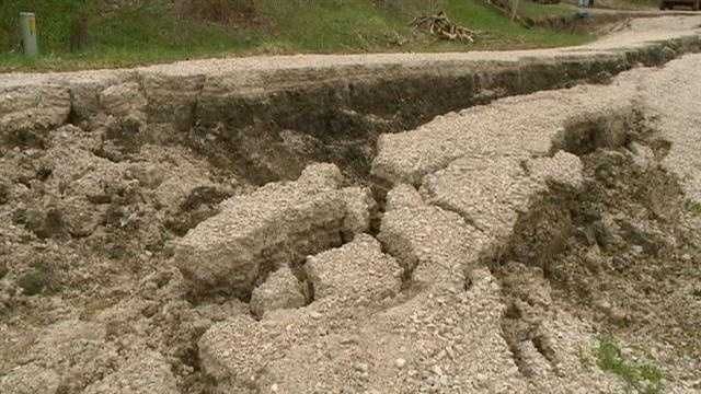 Collapsed road isolates home