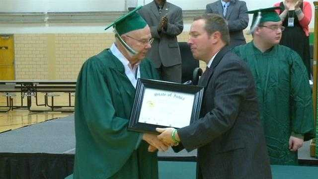 Veteran gets his diploma 72 years late