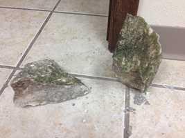 Concrete used in the break-in.