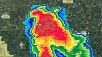 """Here is the KCCI radar at the time of the Vincent photos 12:42 pm. Clearing a hook with rotation on the NW side"" said KCCI Chief Meteorologist John McLaughlin."