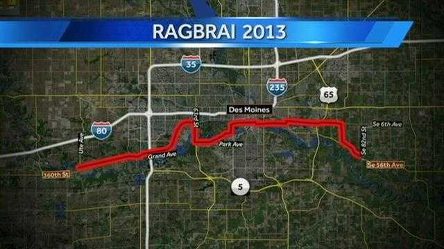 RAGBRAI map Des Moines metro