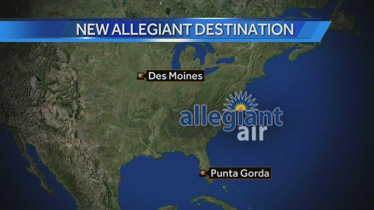 Allegiant announces new flights from Des Moines