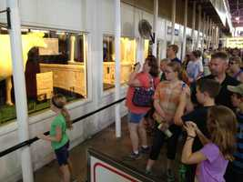 The line to see the Butter Cow