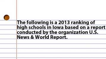 The following is a 2013 ranking of high schools in Iowa Based on a report conducted by the organization U.S. News & World Report.