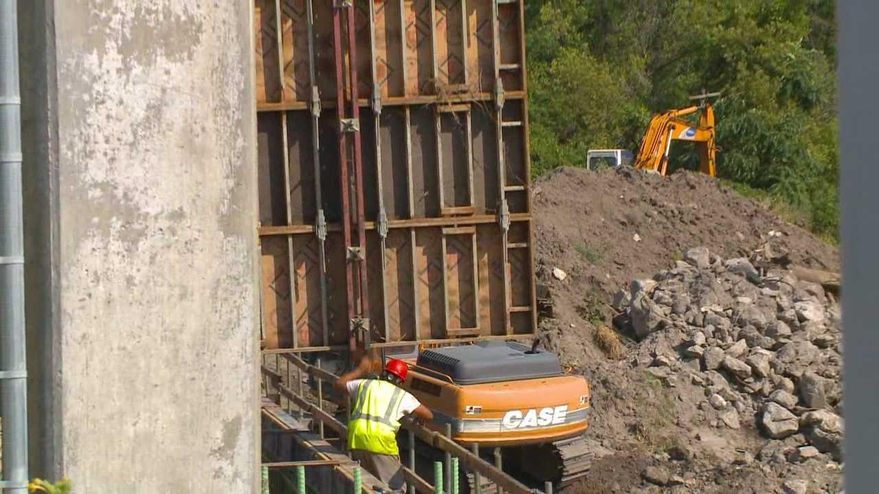 Checking construction on Grand Avenue bridge