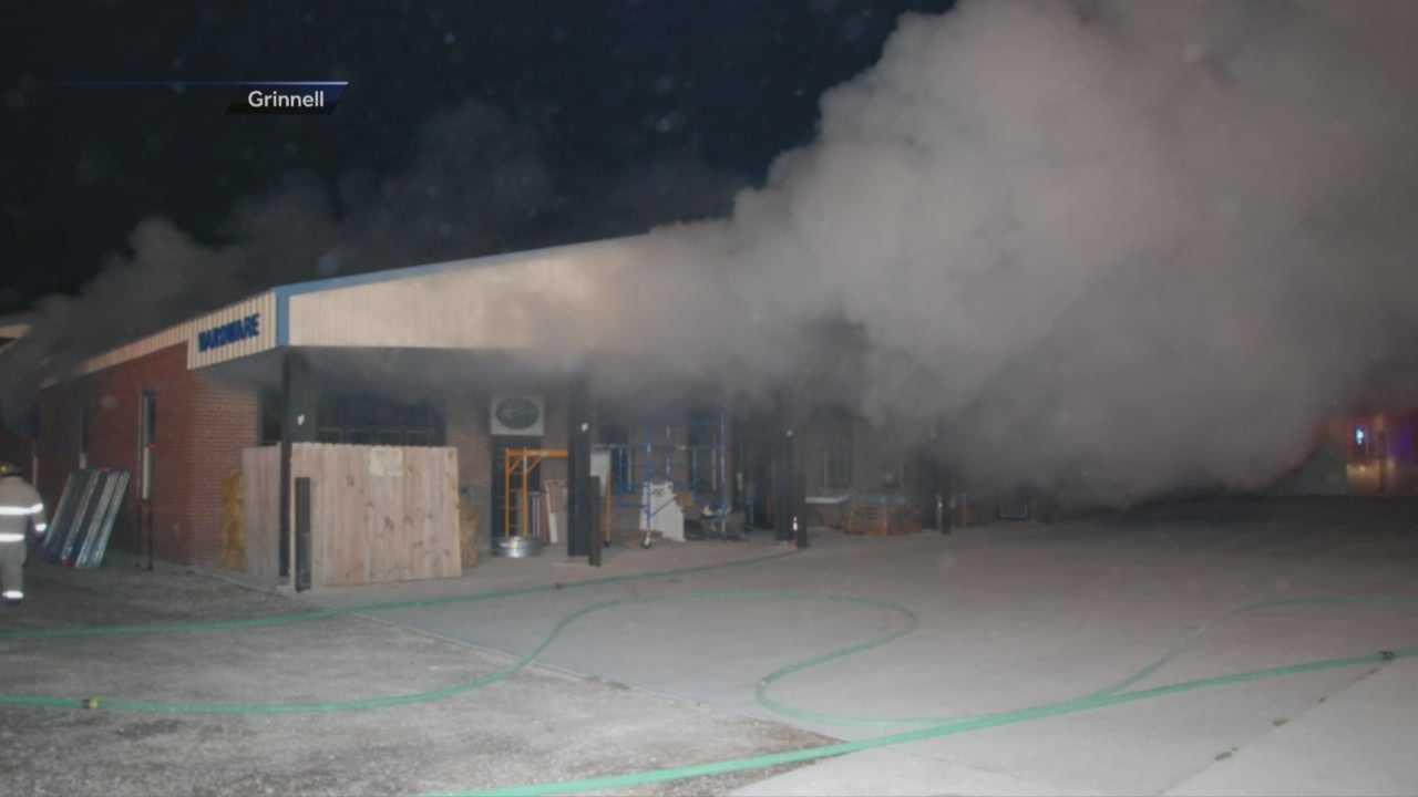 Fire sweeps through Grinnell lumberyard