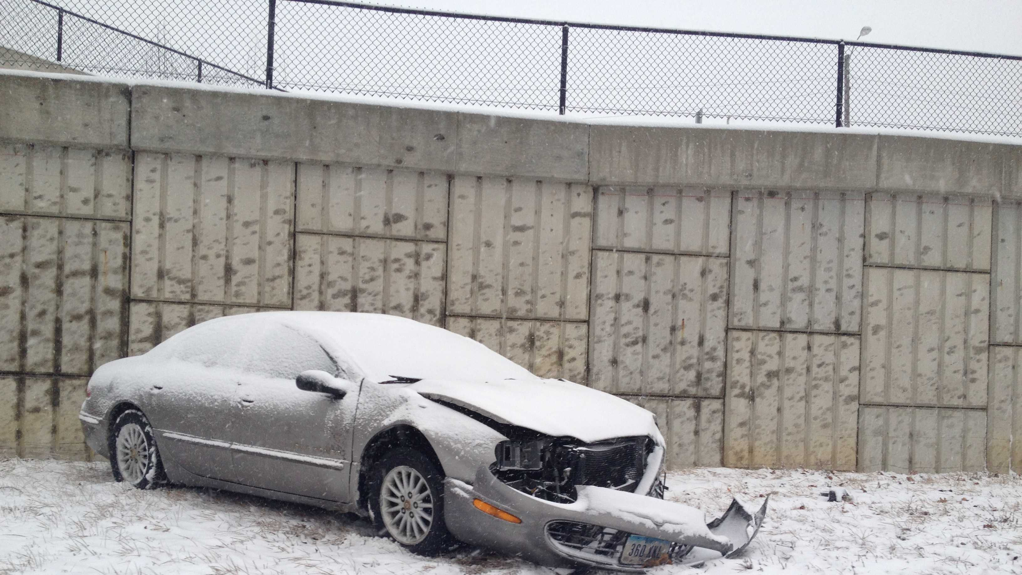 snow car crash