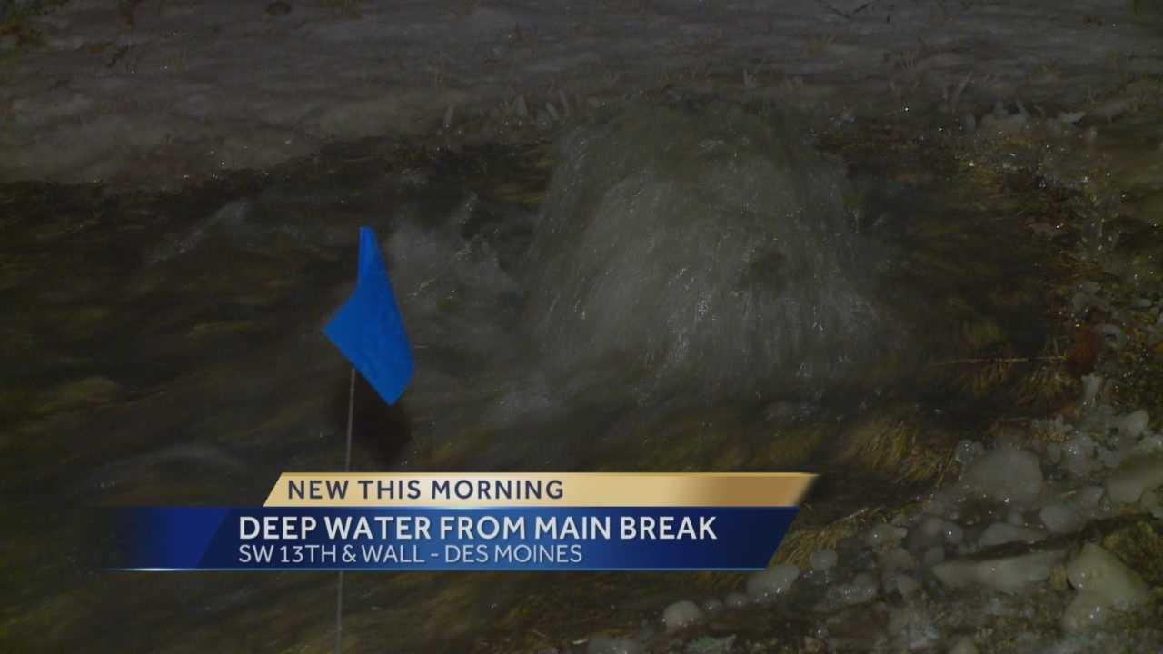 Water main break sends water rushing down hill