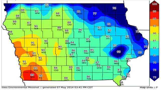 mesonet temps 99 degrees