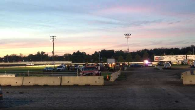 Car loses control during race at Iowa State Fairgrounds