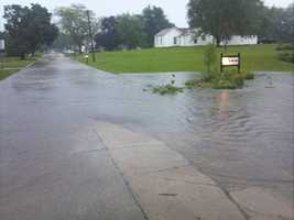 Street flooding in Lenox following Tuesday's storms.