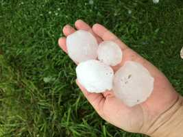 Hail east of Indianola along Highway 92