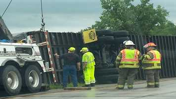 Semi blown off Interstate 35 near Bevington during storms.