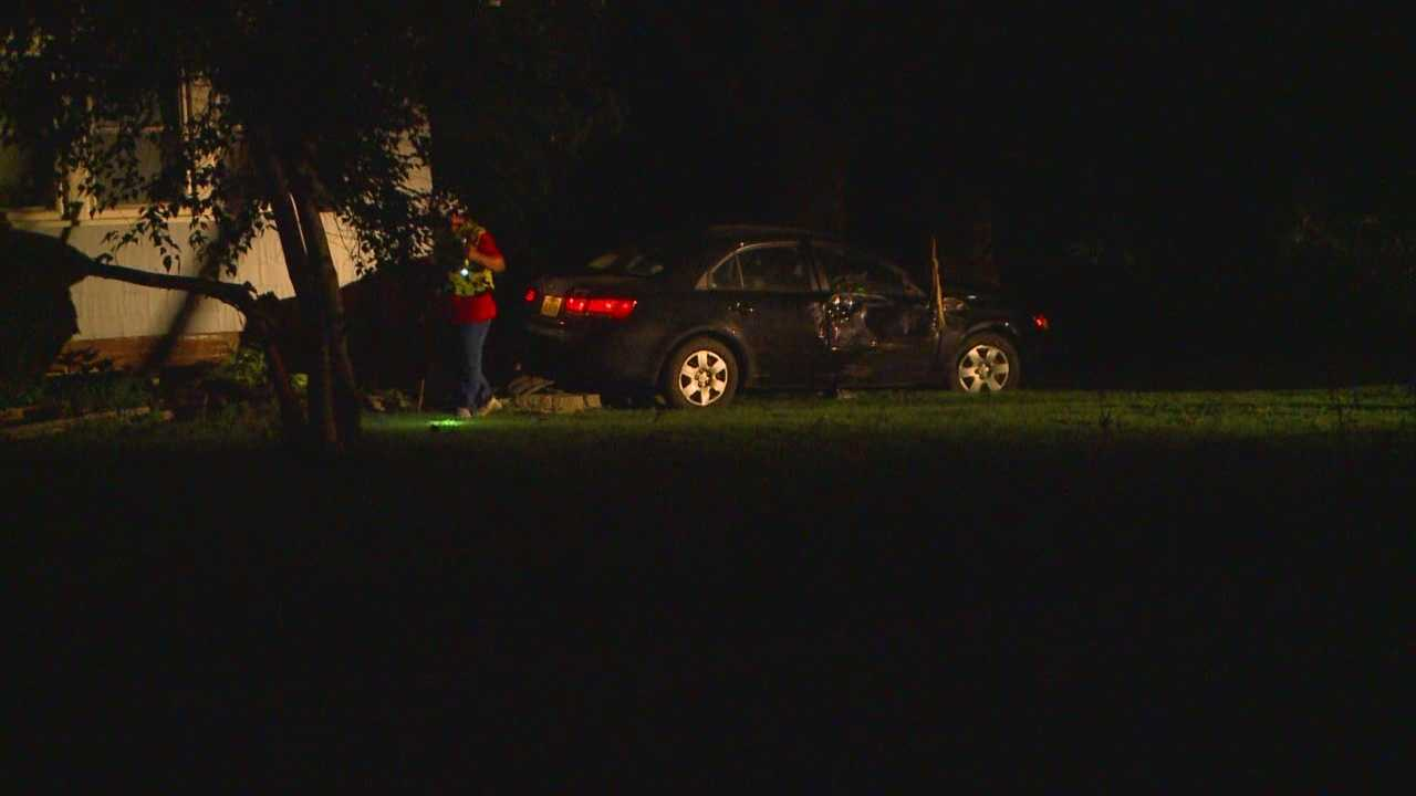 Car slams into home, driver cannot be found