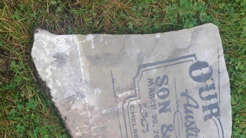 Headstone found in Nodaway River