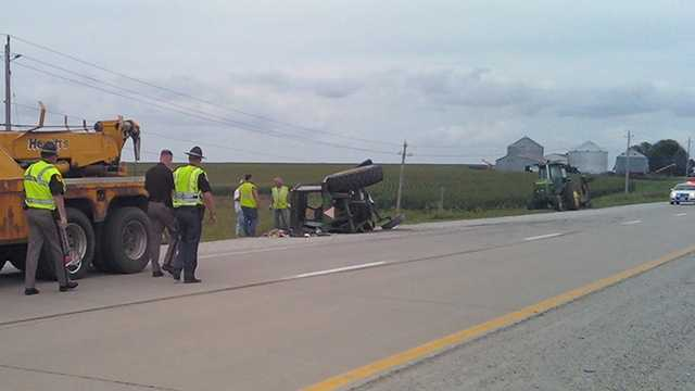 Highway 163 truck vs tractor crash