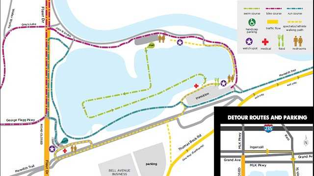 Hy-Vee Triathlon road closures map
