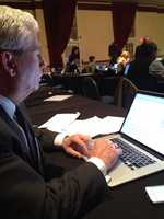 KCCI's Kevin Cooney prepares before the debate.