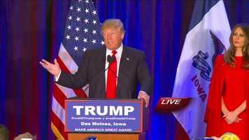 Donald Trump places second in the Iowa caucuses.