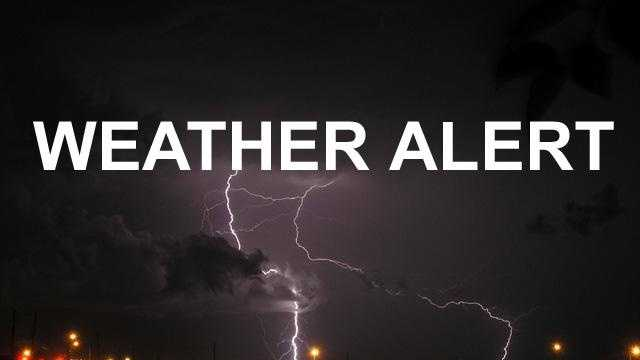 Weather alert graphic NIGHT with lightning generic - 23996309