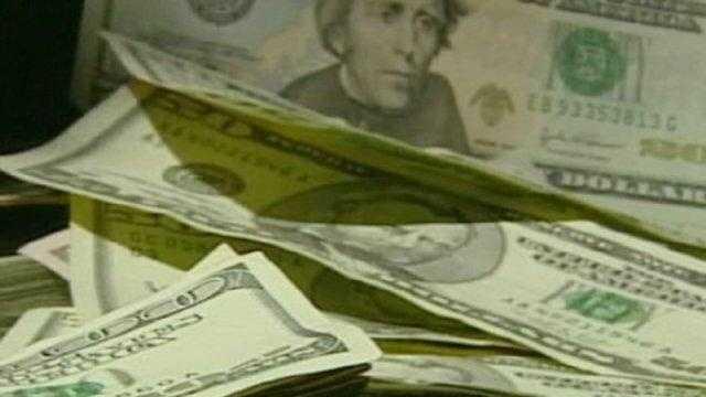 money cash generic, piles of bills - 17690422