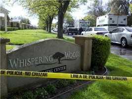 Sunday, April 15: Investigators continue gathering evidence at the scene.
