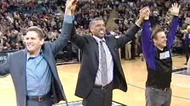 Joe and Gavin Maloof rejoice at a Kings game following the announcement that a tentative deal had been reached.