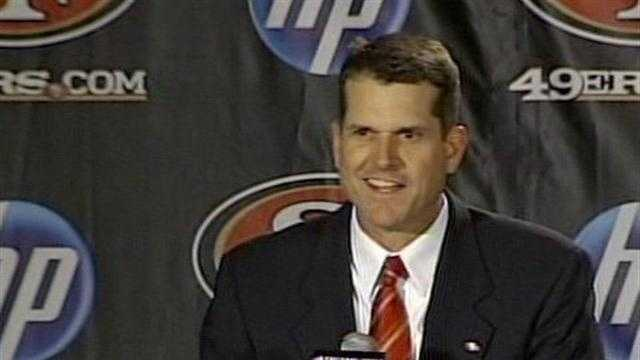 Jim Harbaugh speaks to reporters about his new post as head coach of the San Francisco 49ers.