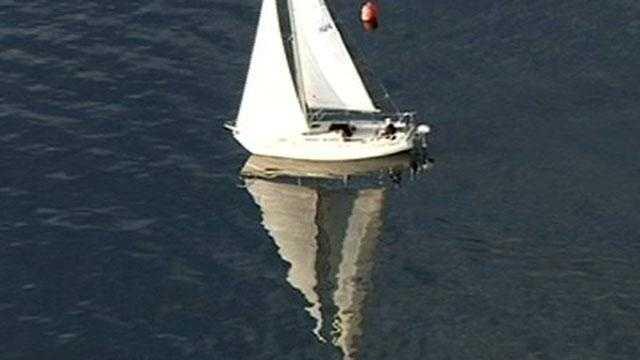 041310 tue wx sailboat on Folsom Lake reflection - 23143201