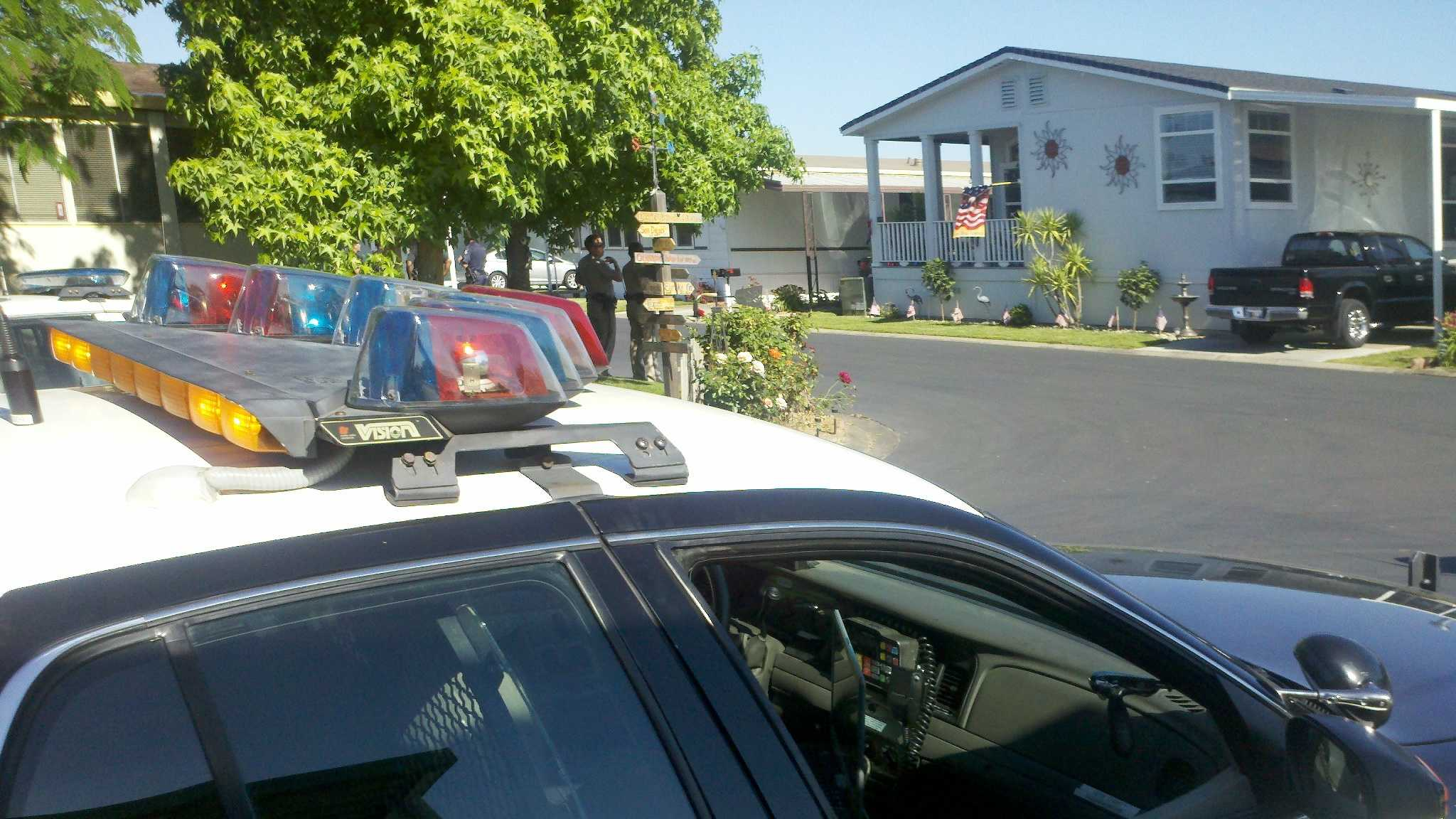 Two people were taken into custody Tuesday after shots were fired earlier this morning in a stolen vehicle chase in Sacramento County, a sheriff's department spokesman said.