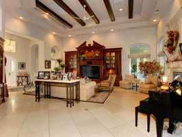 The home boasts high ceilings.