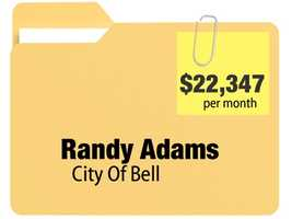 No. 10: Randy Adams receives $22,347.94 a month for an annual $268,175.28 pension from the city of Bell.